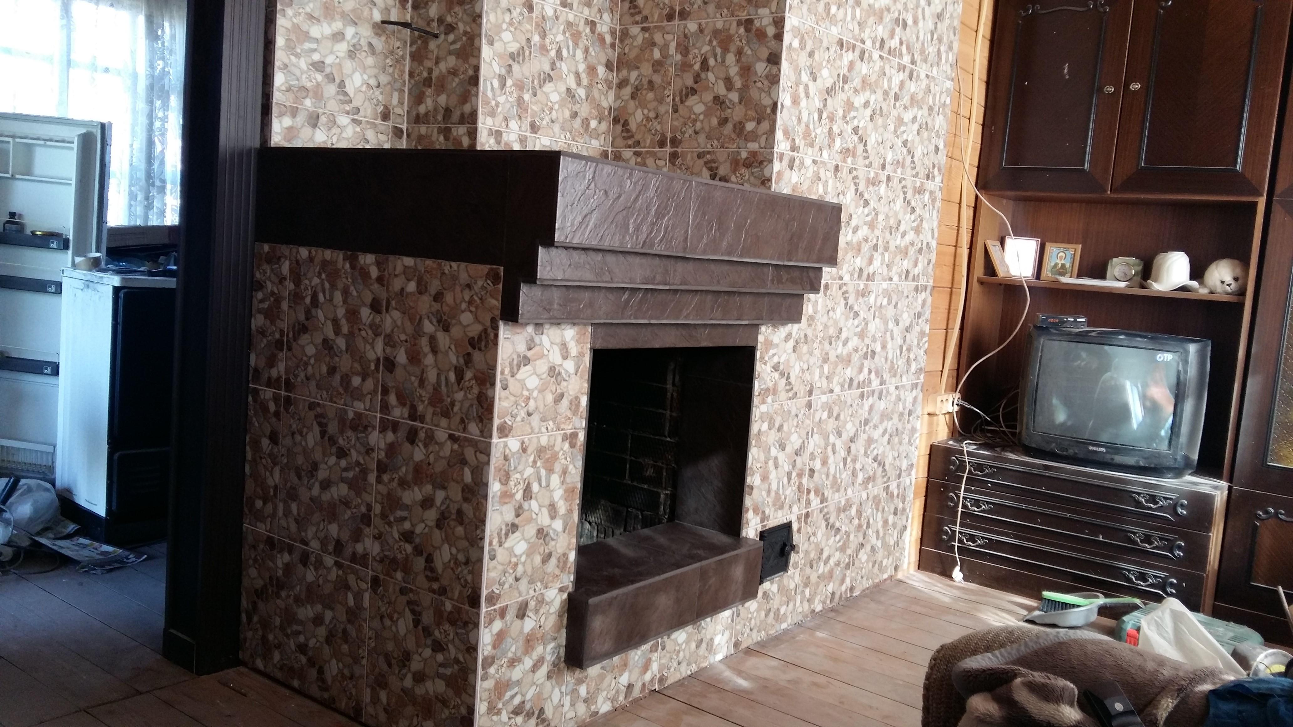 Печь-камин облицованный керамогранитом