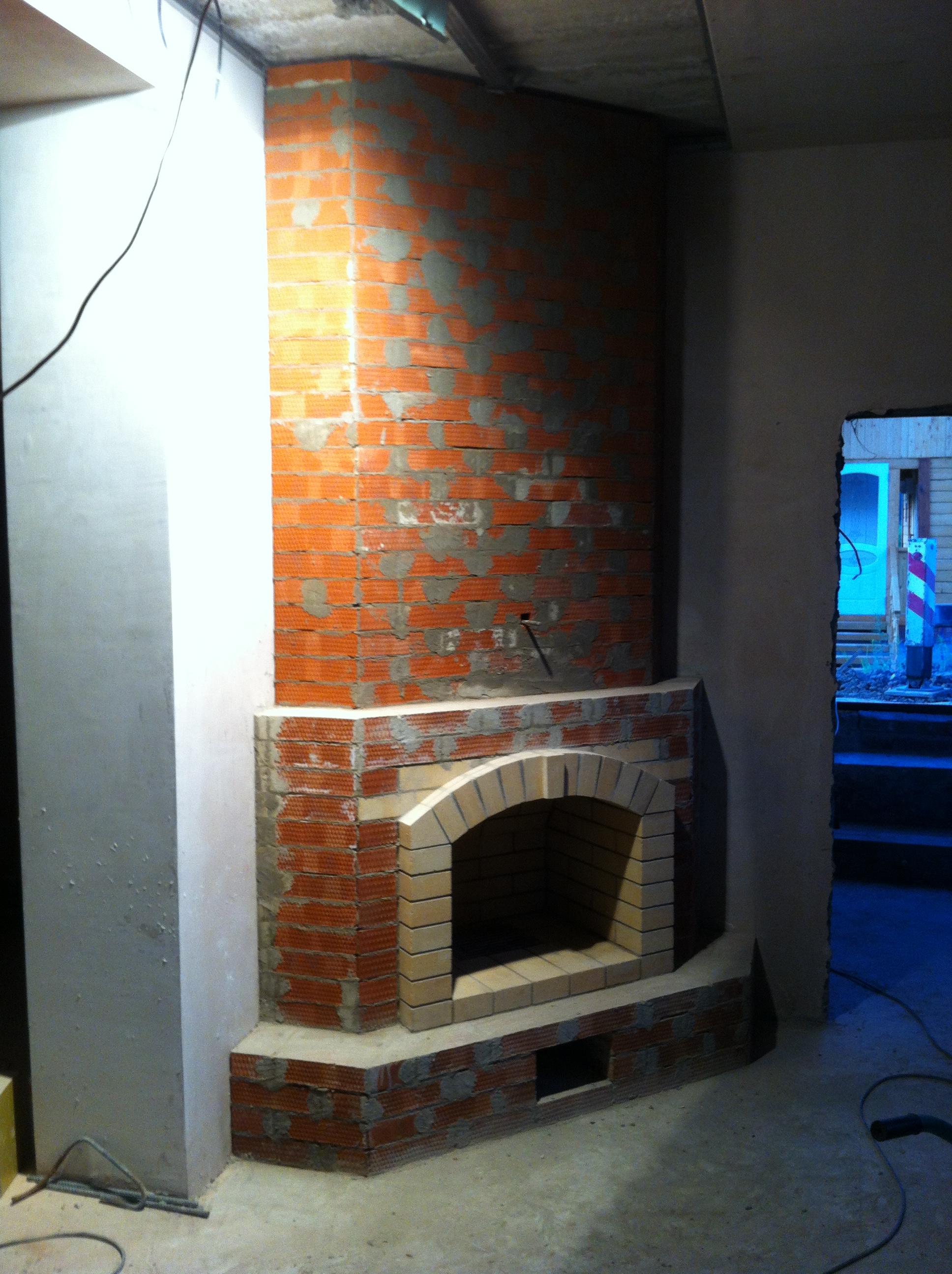 Кирпичный камин в углу комнаты